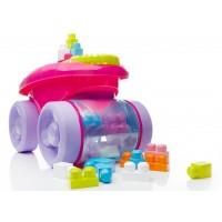 """Рожевий візок-каталка """"Збираймо кубики"""" Mega Bloks"""