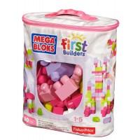 Конструктор рожевий у мішку (80 дет.) Mega Bloks