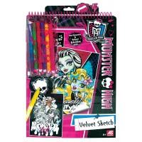 Набор для творчества с бархатной раскраской Monster High